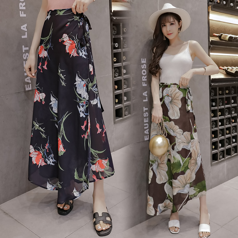 2018 Sale summer new Bohemian chiffon skirt women print beach holiday skirts Korean fashion casual designer loose clothing