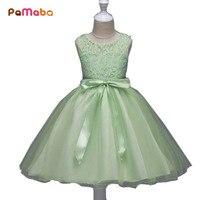 PaMaBa 3 9T Flower Girls Party Princess Dress Kids Summer Sleeveless Princess Sundress Children Pageant Wedding