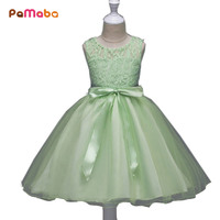 PaMaBa 3 9T Flower Girls Party Princess Dress Kids Summer Sleeveless Princess Sundress Children Pageant Wedding