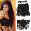 7A Malaysian Deep Curly 13x4 Lace Frontal Closure With Bundles Vip Beauty Malaysian Curly Hair with Lace Frontal Weave Deep Wave
