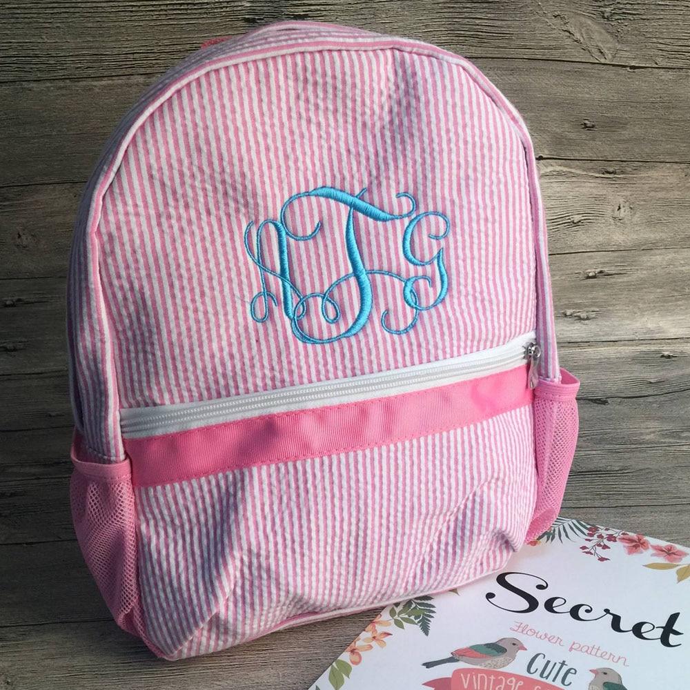Personalize font b Kids b font Toddler font b School b font Backpacks Soft Seersucker Material