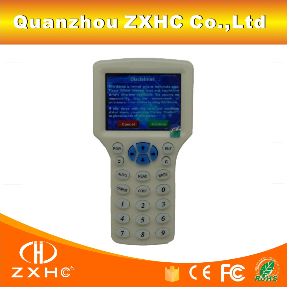 English Language RFID Reader Writer Copier Duplicator IC/ID 10 Frequency With USB Cable For 125Khz 13.56Mhz Cards LCD Screen