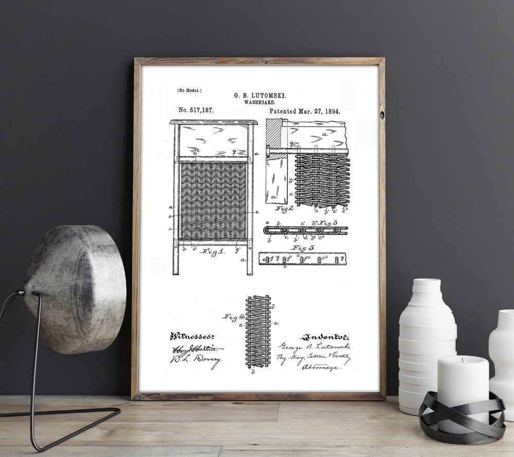Laundry Washboard Patent Laundry Wall Art Posters Wall Decor Vintage Print Blueprint Gift Idea Picture Decorations Painting Calligraphy Aliexpress
