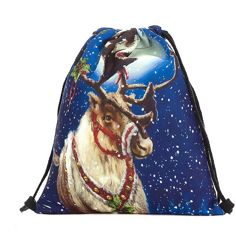Christmas Candy Gift Bag Drawstring Bag Bundle Pocket Santa Claus Snowman Printed Backpack Grinch Drawstring Backpack A30