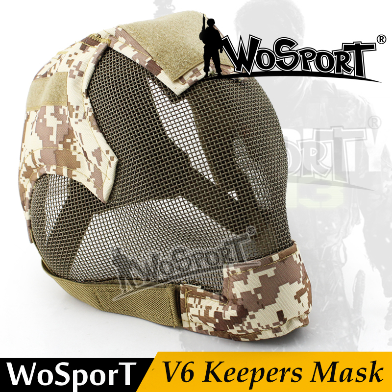 WoSporT Military Airsoft Paintball Masks Tactical Steel Mesh Full Face V6 Mask for Army Outdoor Paintball Accessories protective outdoor war game military tactical full face shield mask black