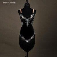 Hiệu suất phụ nữ ăn mặc Phụ Nữ latin quần áo khiêu vũ latin dress cô gái stones tua khiêu vũ latin dresses dancer clothingXS-6XL