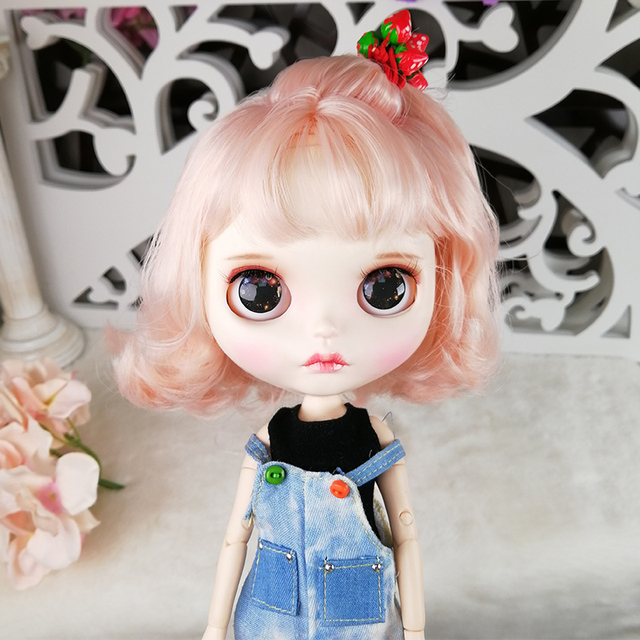 Blyth Doll 1/6 Joint Body hand painted matte face white skin Cute pink short hair suit 30cm DIY BJD SD toys gift AB hand set