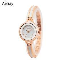 Abrray Fashion Quartz Watch Rose Gold Color Mix White Ceramic Chain Ladies Watches Waterproof Japanese Movement Wristwatch