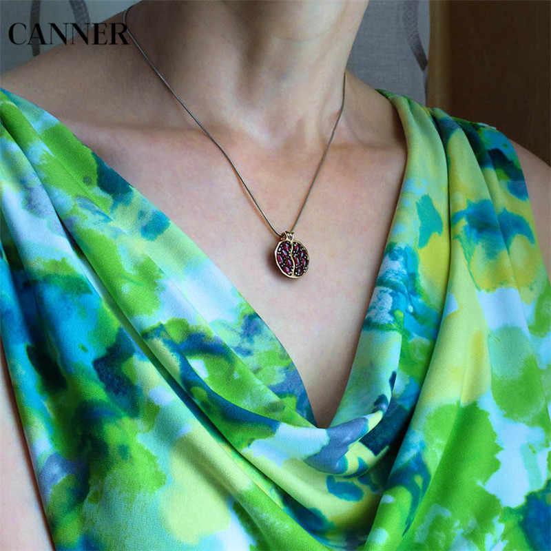 Canner Red Pomegranate granate collar Vintage redondo oro Color CZ piedra collares para mujer chica joyería regalo
