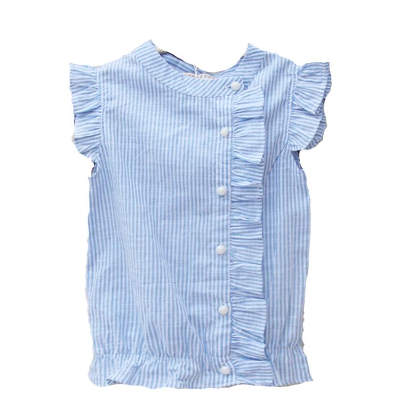 Kinderen gestreepte blouses voor meisjes met korte mouwen Katoenen - Kinderkleding