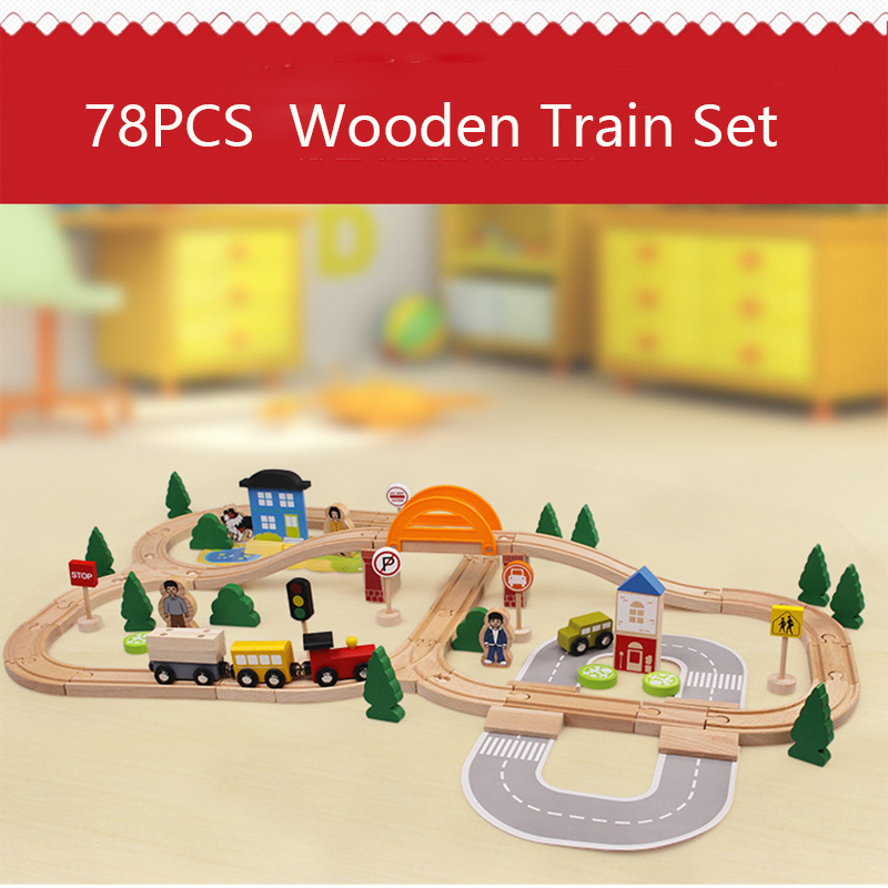78PCS Traffic Wooden Train Track Magnetic Car Model Slot Puzzles Wooden Railway Early Educational Toy For