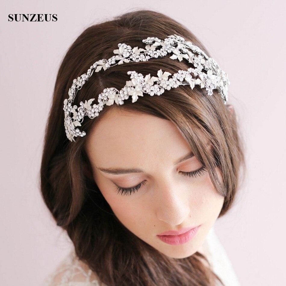 Water Crystal Bridal Headbands Silver Leaves Double Hair Band Luxury Headwear New Crown Headdress SQ0200