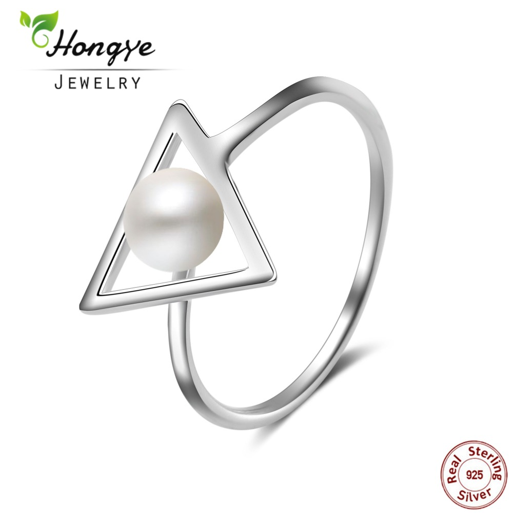 Hongye Natural Freshwater Pearl Rings 925 Sterling silver jewelry Fashion Triangle 6mm Real Pearl Ring for Women Wedding Gift