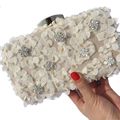 2016 New Women Exquisite Clutch Bag White Diamond Lace Flower Evening Bags Day Clutch Chain Shoulder Bag Cellphone Bag ZD208