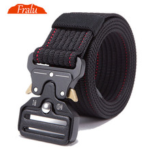 FRALU 2019 New Mens Tactical Belt Military Nylon Outdoor multifunctional Training Combat Belts Sturdy Waistban