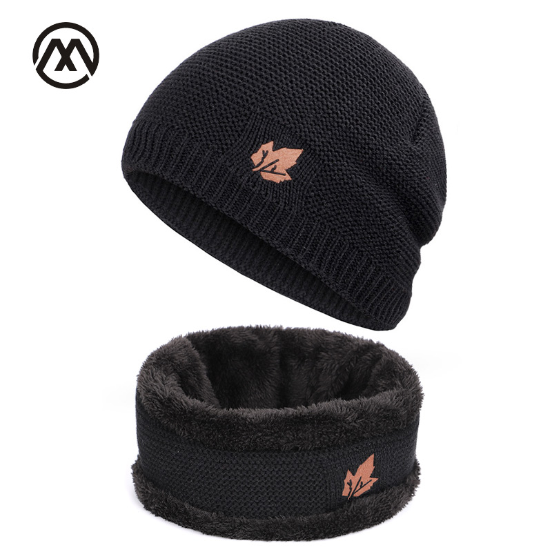 Winter Men's Knitted Hats Scarf Outdoor Warm Velvet Unisex New Fashion Trend Brand Caps Maple Leaf Leather Standard Set Male