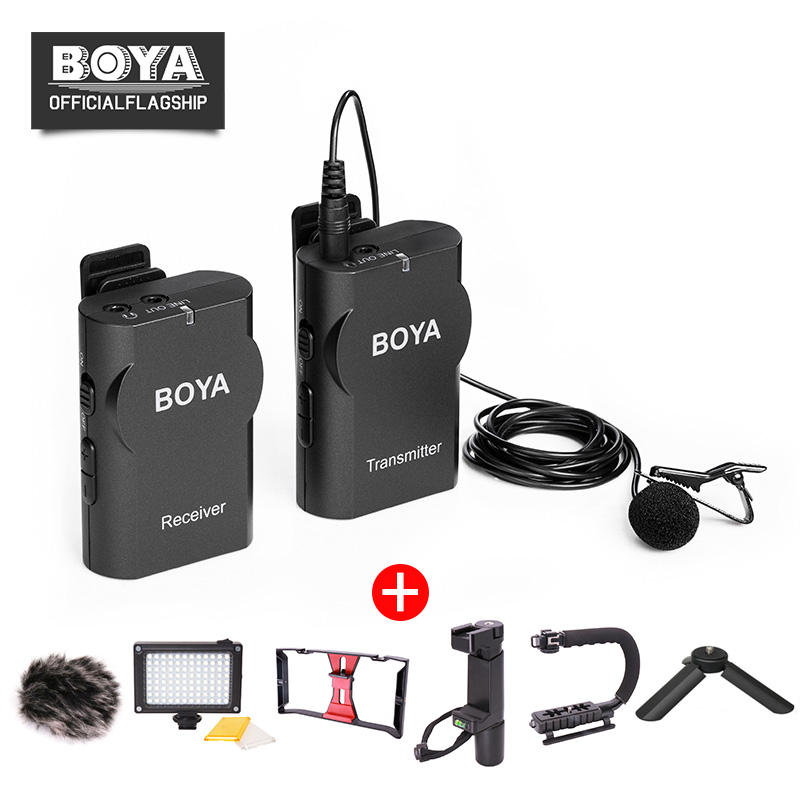BOYA BY-WM4 Wireless Lavalier Microphone System Smartphone Lapel Mic for iPhone 8 7 Android Canon Nikon Tablet PC Audio Recorder boya by wm4 wireless lavalier microphone system smartphone lapel mic for iphone 8 7 android canon nikon tablet pc audio recorder