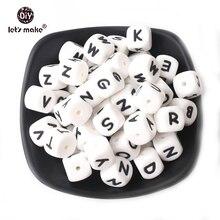 Cuentas de silicona con letra del alfabeto de grado alimenticio, mordedor de silicona con 26 letras, 100 Uds.