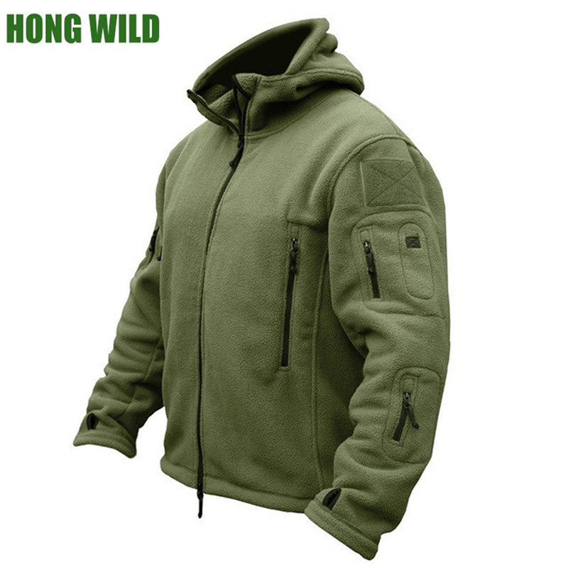 Hong Wild Military Man Fleece Tactical Softshell Jacket Polartec Thermal   Polar Hooded Outerwear Coat  Army Clothes