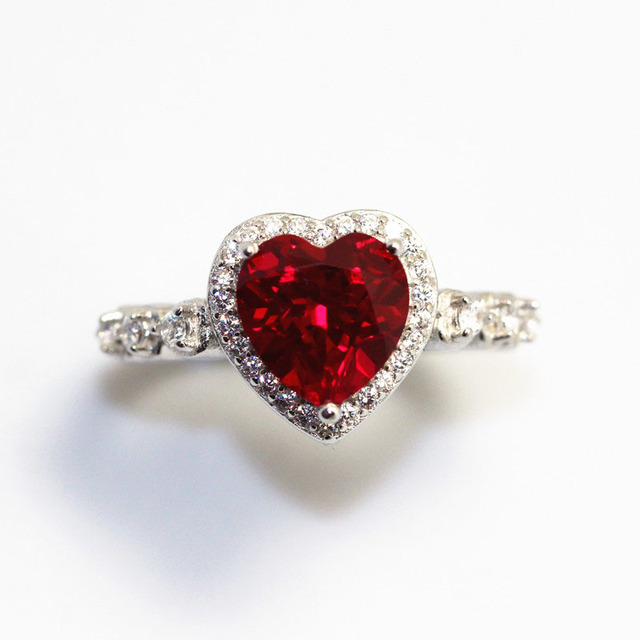 Red Ruby Heart Shape Gemstone Sterling 925 Silver Wedding Rings For Women Bridal Fine Jewelry Engagement Bague Accessories 3