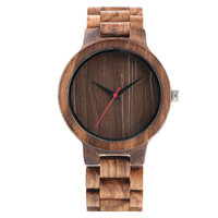 New Arrival Simple Hand Made Full Wooden Quartz Watches Mens Brown Black Dial Bracelet Clasp Natural
