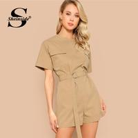 Sheinside Khaki Pocket Detail Rompers Women 2019 Summer Short Sleeve Zip Back Rompers Ladies Solid Mid Waist Belted Playsuits