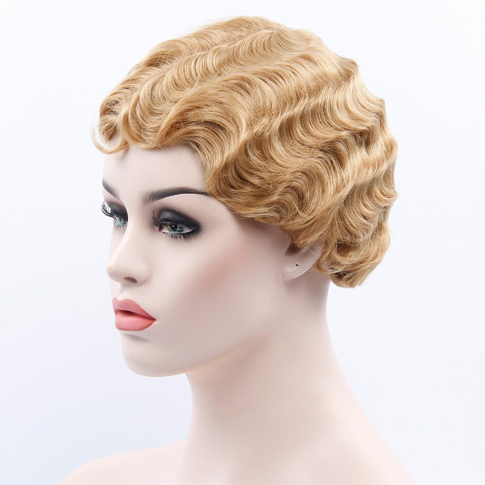 Finger Wave Wigs For Women Synthetic Short Purple Wigs Female Heat Resistant Fiber Black Cosplay Wig Blonde