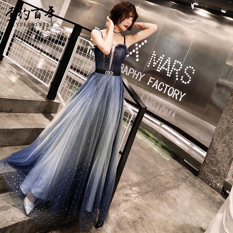 2019 Sexy Spaghetti Strap Long Evening Dresses Elegant Gradient Tulle Prom Gowns Formal Party Dress Lace Up Vestido De Festa