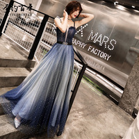 2019 Sexy Spaghetti Strap Long Evening Dresses Elegant Gradient Tulle prom gowns Formal Party dress Lace up vestido de festa