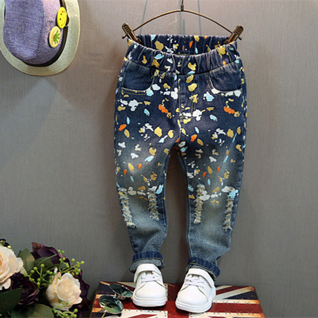 US $21 46 |Private label jeans new personality graffiti paint points of  children in the spring and autumn winter wool denim trousers tide p-in  Jeans