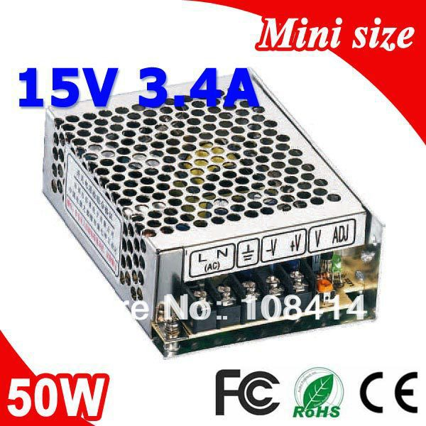 MS-50-15 50W 15V 3.4A Mini Size LED Switching Power Supply Transformer 110V 220V AC to DC 15V output mini size 50w 36v 1 4a switch mode led light devices switching power supply ac dc psu 100 110 220 230v ms 50 36