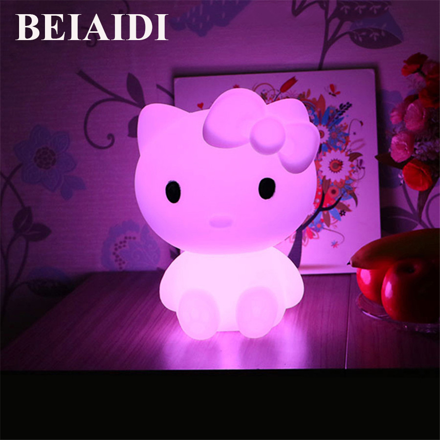BEIAIDI Creative Cute Cat LED Night Light For Baby Kids RGB  Kitty Cat Bedside Lamp With Remote Rechargeable Cartoon Table Lamp yimia creative 4 colors remote control led night lights hourglass night light wall lamp chandelier lights children baby s gifts