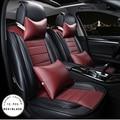 Rojo marrón de la nueva marca de lujo de cuero de la pu cubierta del amortiguador del coche delantero y completa trasera cubierta de asiento de coche cuatro estaciones asiento para universal
