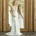 Vintage Bohemian Lace Wedding Dress 2016 See Through Back Beach Wedding Dress Simple Chiffon Boho Wedding Gown Vestido De Noiva