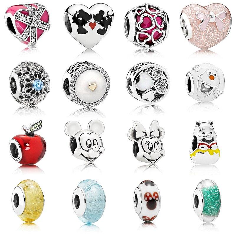 16 Style bricolage argent couleur perles breloques mode mignon souris pomme verre cristal perles pour les femmes Original Pandora Bracelet à breloques