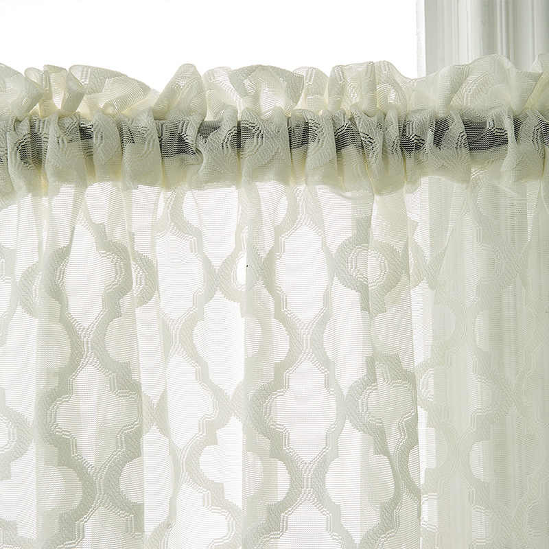 White black fashion voile European tulle  window short curtains for kitchen bedroom living room eyelet home decoration