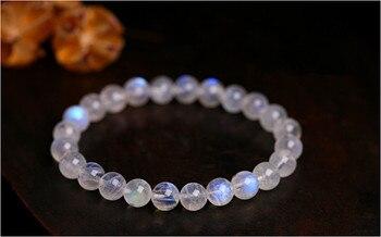 Natural Blue Lights Moonstone Charm Crystal Stone Bracelets For Women Female Charm Stretch Round Crystal Beads Bracelet 7mm
