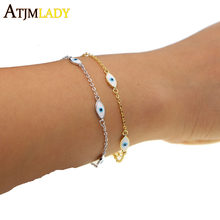 2018 Promotion Hot Sale Women Copper Enamel Evil Eye Link Chain Color Fashion Cheap Drop Shipping Jewelry High Quality Bracelet(China)