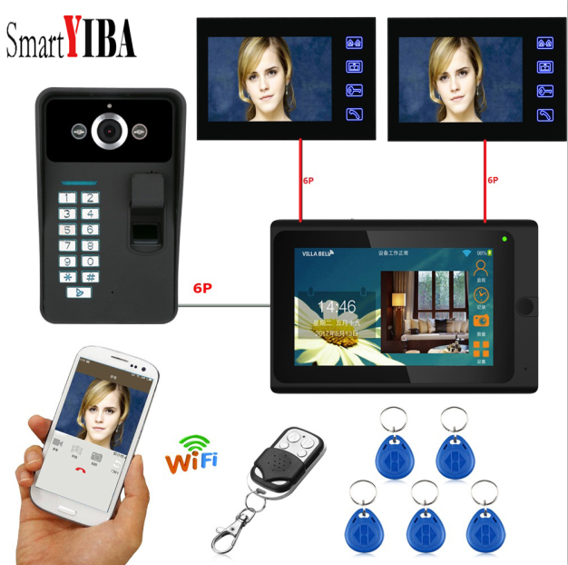 SmartYIBA 7inch Wifi Doorbell Fingerprint Waterproof Security Camera ID Card Remotes Unlock 1000TVL Visual Video Intercom System