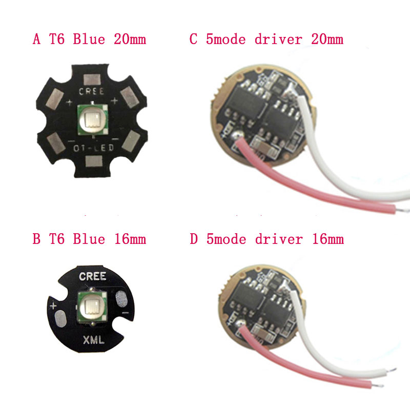 1 Uds Original CREE 10W T6 azul 460nm 20mm/16mm LED linterna antorcha luz Chip LED con 5 modo DC controlador LED Sofirn nuevo SD05 Buceo linterna LED LUZ DE BUCEO Cree xhp50,2 lámpara Super brillante 2550lm 21700 con interruptor magnético 3 modos