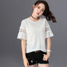 New Italy style short sleeve cotton t shirt women solid stitching fashion female t-shirt plus size round neck tshirt ladies