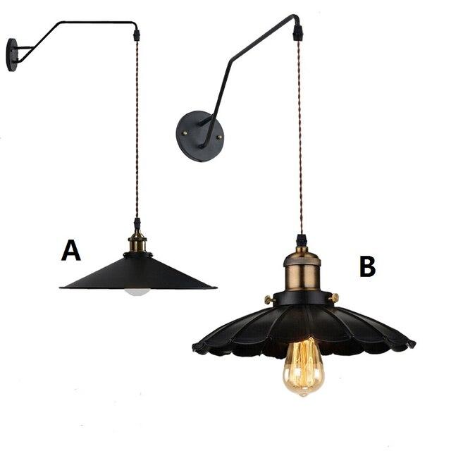 Grenier américain Lampe Vintage Noir Industrielle Appliques Murales ...
