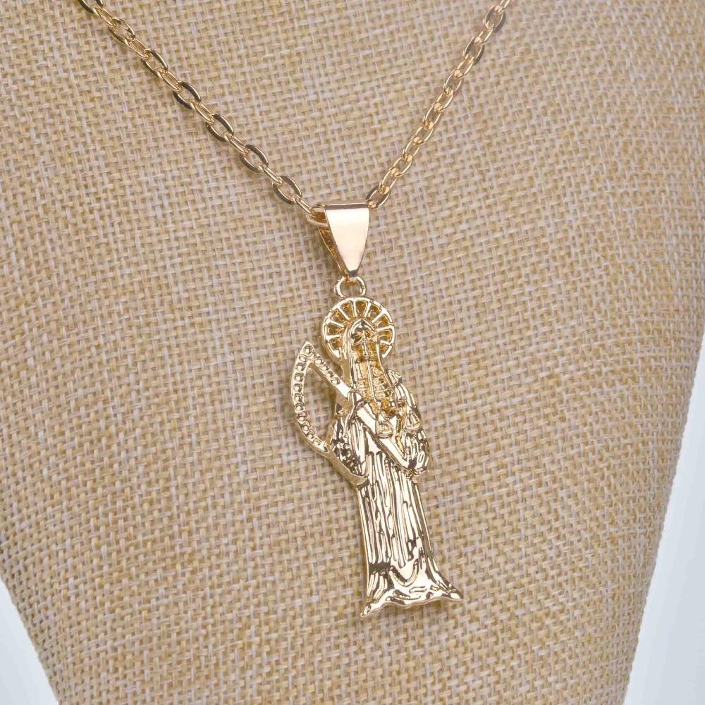 Skam lysegult gullfarge Trendy Grim Reaper halskjede Topp kvalitet - Mote smykker - Bilde 5