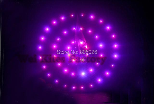 O envio gratuito de alta qualidade 3 sq. m círculos Concêntricos led kites144p shinning lâmpada com carregador brinquedos ao ar livre de nylon ripstop surf