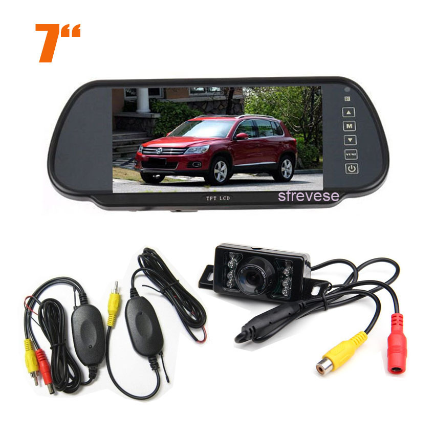 Wireless 7 IR Night Vision Reversing Parking Backup Camera Waterproof 7 LCD Monitor Mirror Car Rear
