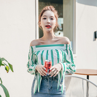 Fresh Green Strip Blouse For Ladies Korean New Fashion Off Shoulder Full Sleeve Shirt Top