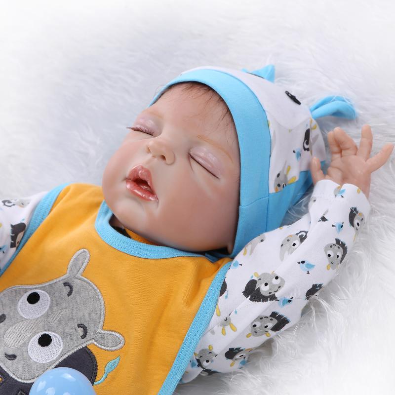 """22/"""" Full Body Silicone Sleeping Boy Doll Soft Vinyl Lifelike Newborn Baby Reborn"""