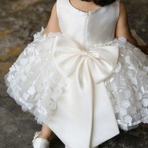 Милое платье для маленьких девочек, платье для крещения с цветочным рисунком для девочек 1 год, платье на день рождения, платье на крестины, Одежда для новорожденных, Bebes Vestido