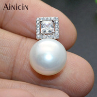 11mm Big Size Natural Freshwater Pearl Zircon Stone Setting S925 Sterling Silver Necklace Pendants Fashion Women Jewelry Gift