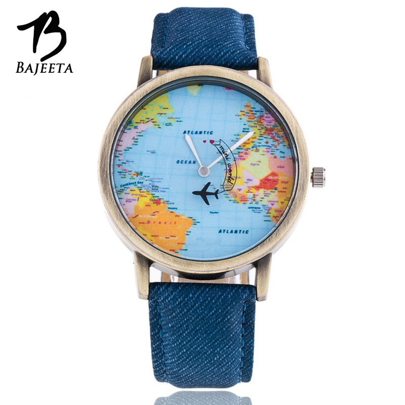 BAJEETA World Map Quartz Women Watch Fashion Leather Men Watch Ladies Aircraft Vintage Style Wristwatch Casual Relogio Feminino miler vintage fashion watch women retro leather strap world map casual quartz wristwatch ladies creative clock relogio feminino